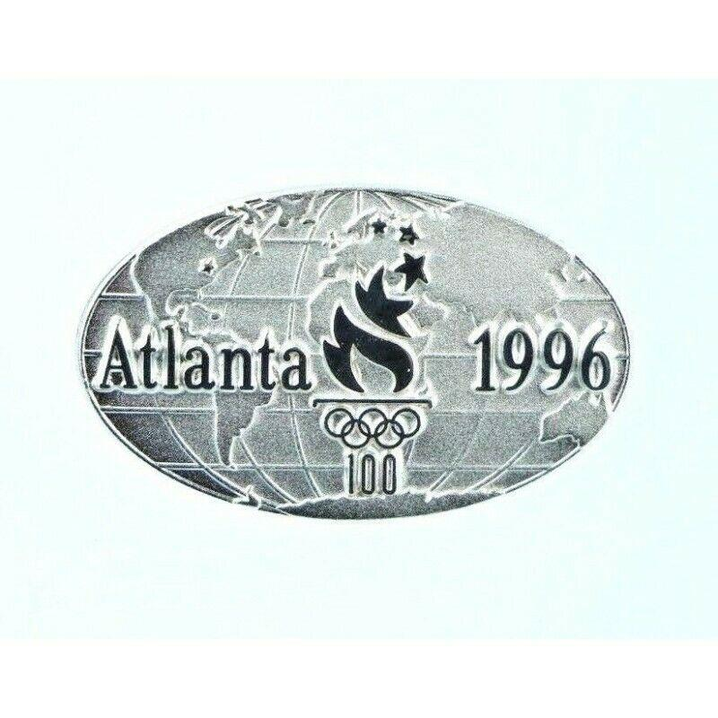 1996 Atlanta Olympics Balfour Oval 100th Olympics World Globe Lapel Pin Badge.