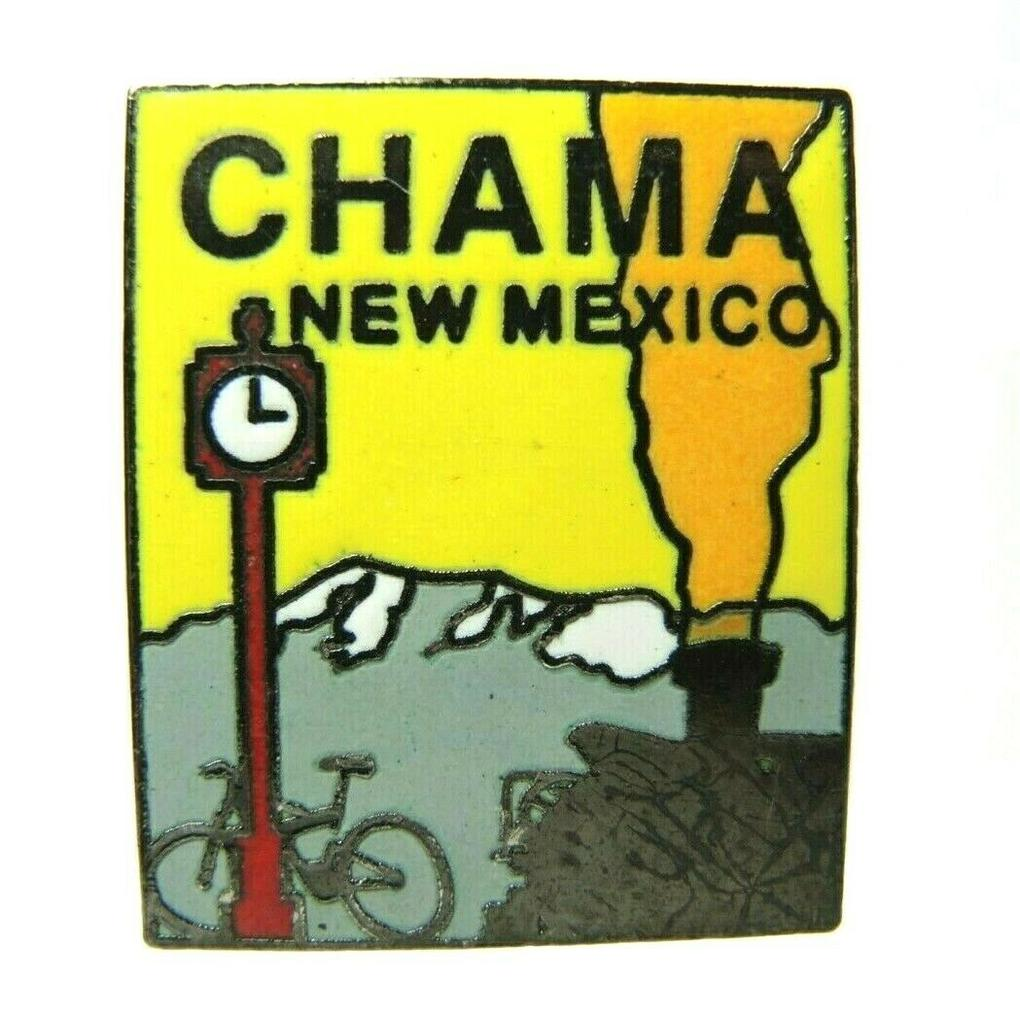 Chama New Mexico Bike Train Clock Mountain Scene Souvenir Lapel Pin