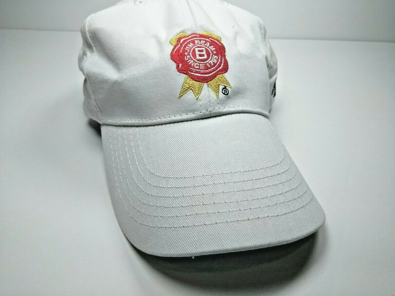 Jim Beam Bourbon Whiskey Born in USA Strapback Adjustable White Hat Cap